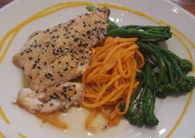 Catfish with Sweet Potato pasta